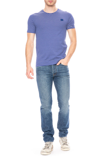 Acne Studios Nele Face Blue and White Striped T-Shirt at Ron Herman