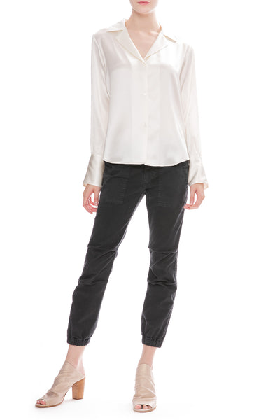 Nili Lotan Cropped Military Pants in Carbon Dark Grey with Emmen Silk Blouse
