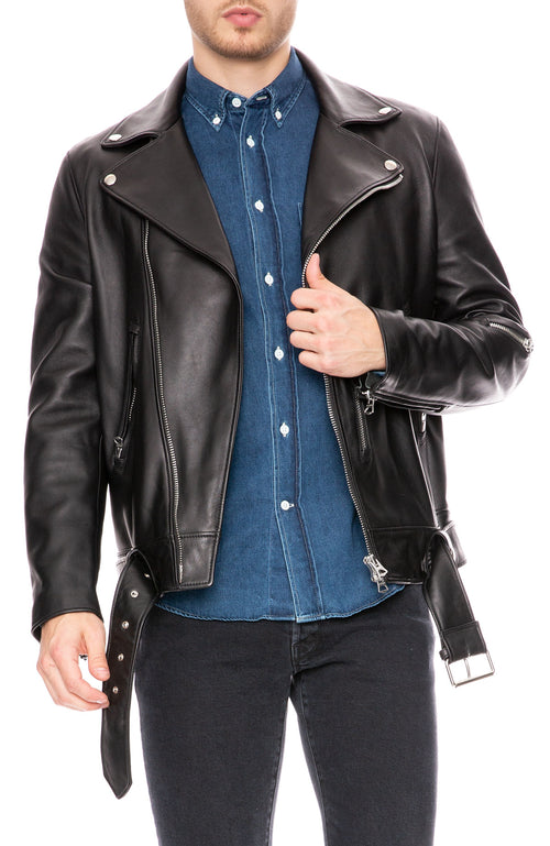 Acne Studios Mens Nate Clean Leather Jacket in Black at Ron Herman