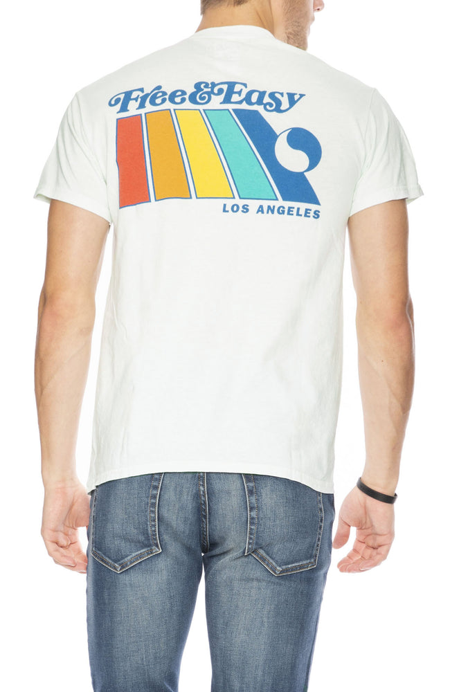 Free & Easy Mens Natural Rainbow Short Sleeve T-Shirt in Icy