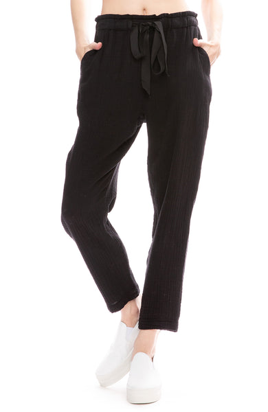 Raquel Allegra Black Cotton Gauze Drawstring Pants