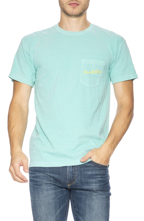 Free & Easy Mens LA Deli Pocket T-Shirt in Teal