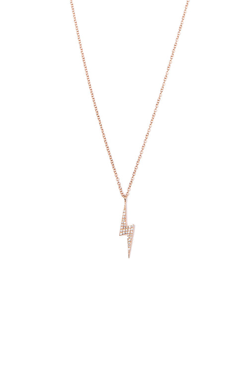 Shain Leyton Rose Gold Diamond Lighting Bolt Necklace at Ron Herman