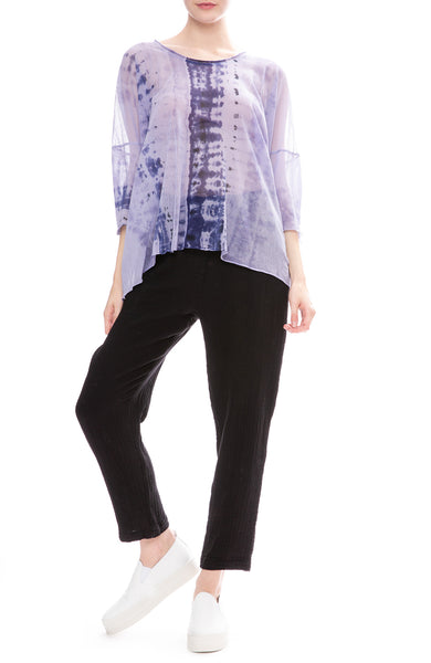 Raquel Allegra Cotton Gauze Drawstring Pants with Lilac Tie-Dye Mesh T-Shirt