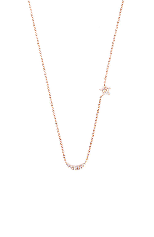 Shain Leyton 14K Rose Gold Diamond Moon and Star Necklace at Ron Herman