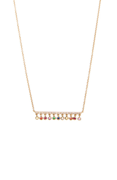 Shain Leyton 14K Yellow Gold Diamond Bar Necklace with Hanging Rainbow Bezels at Ron Herman