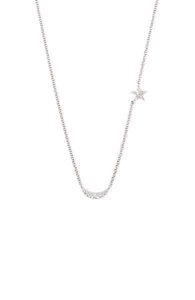 Shain Leyton 14K White Gold Diamond Moon and Star Necklace at Ron Herman