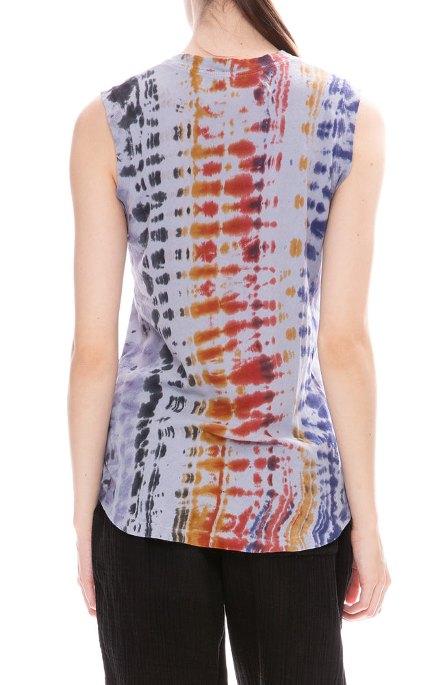 Raquel Allegra Waterfall Rainbow Tie Dye Muscle Tee