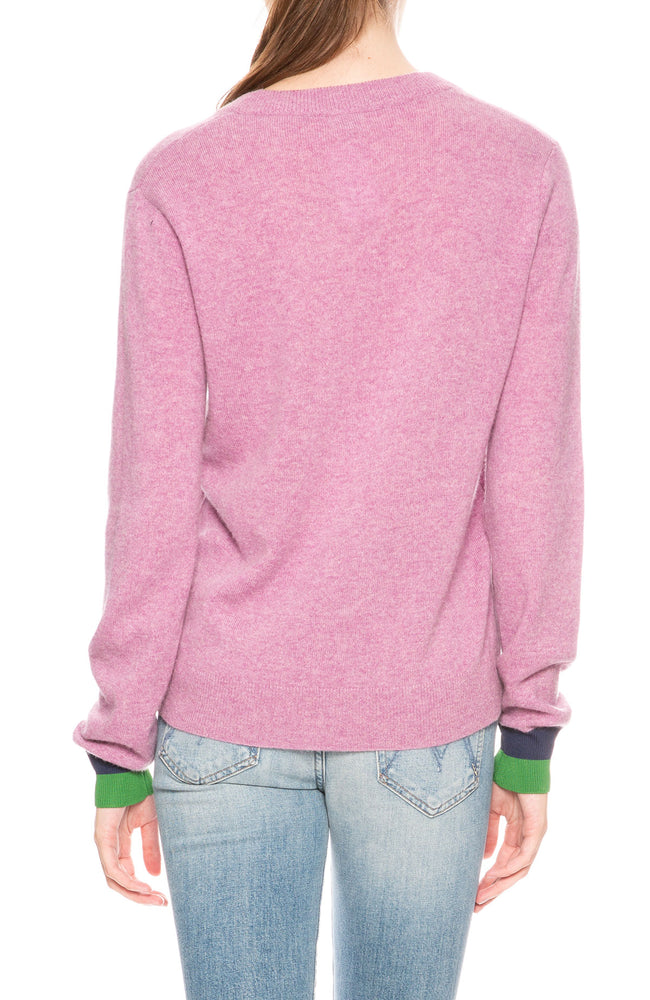 Kule Sawyer V-Neck Sweater in Berry at Ron Herman