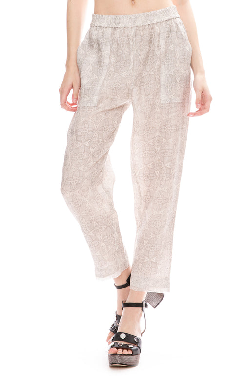 Raquel Allegra Block Print Linen Pants in Silver
