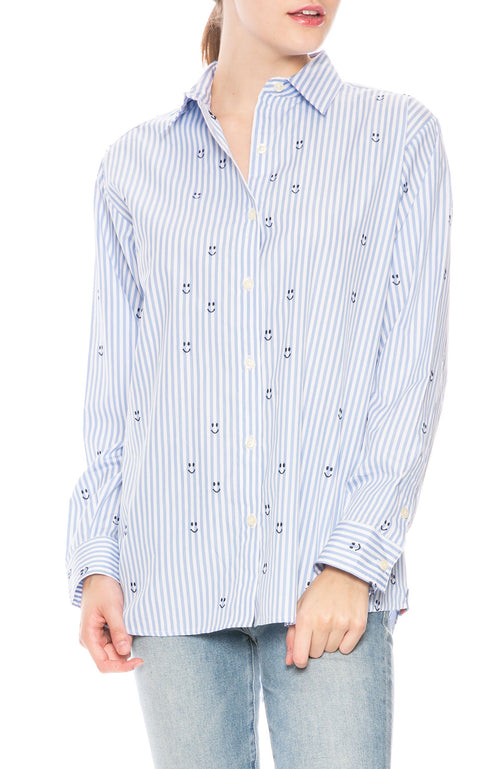 Kule Hutton Embroidered Smiley Face Shirt at Ron Herman