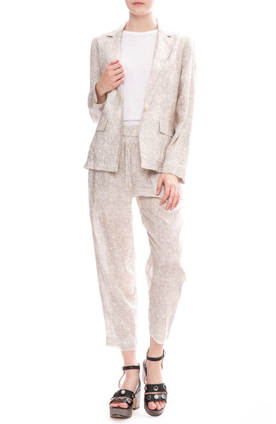 Raquel Allegra Block Print Linen Pants and Cargo Blazer in Silver