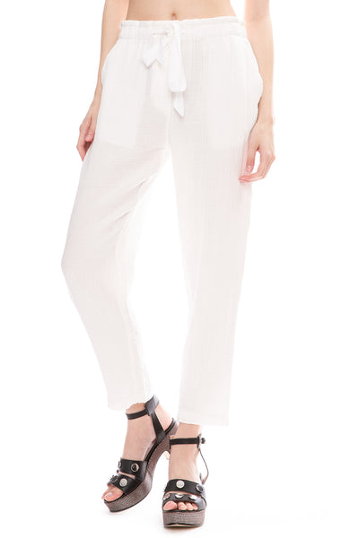 Raquel Allegra White Cotton Gauze Drawstring Pants