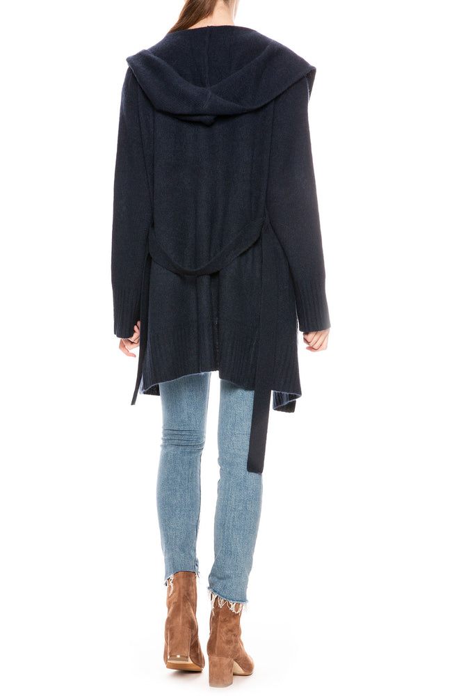 360 Cashmere Charolette Wrap Sweater in Navy at Ron Herman