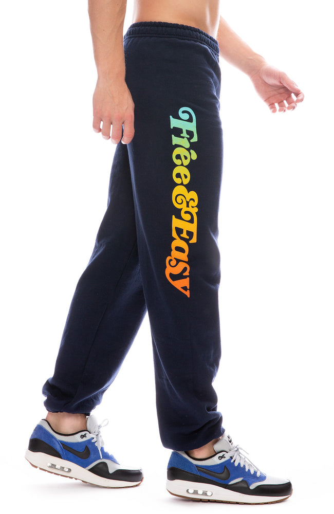 Free & Easy Rainbow Logo Sweatpants in Navy