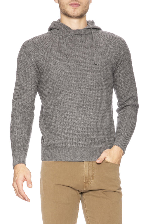 Hartford Waffle Cashmere Pullover Hoodie in Thunder at Ron Herman