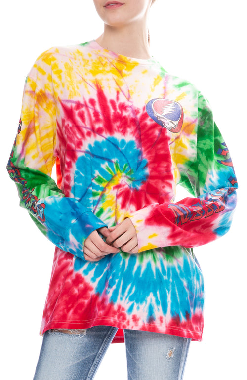 R13 Womens Tie Dye Grateful Dead Long Sleeve T-Shirt