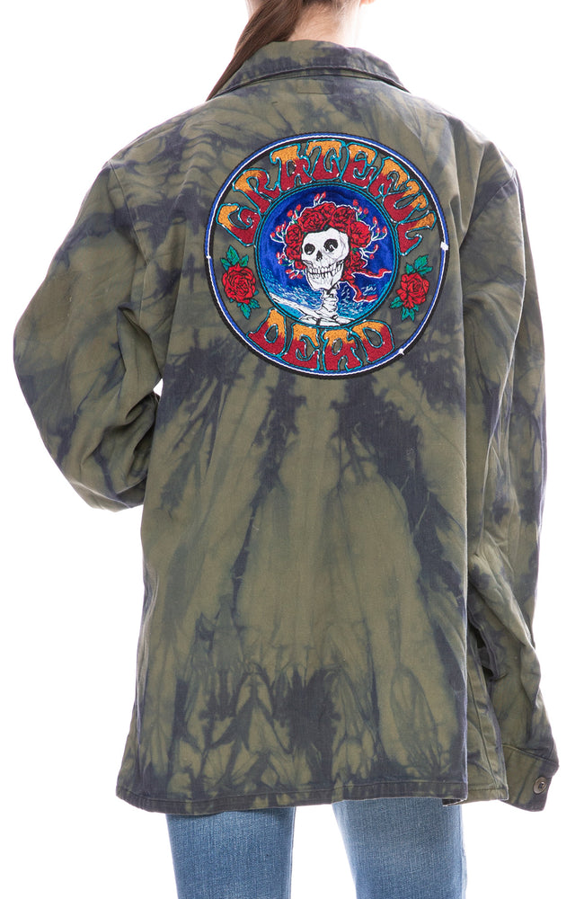 Tie Dye Skull Rose Surplus Shirt