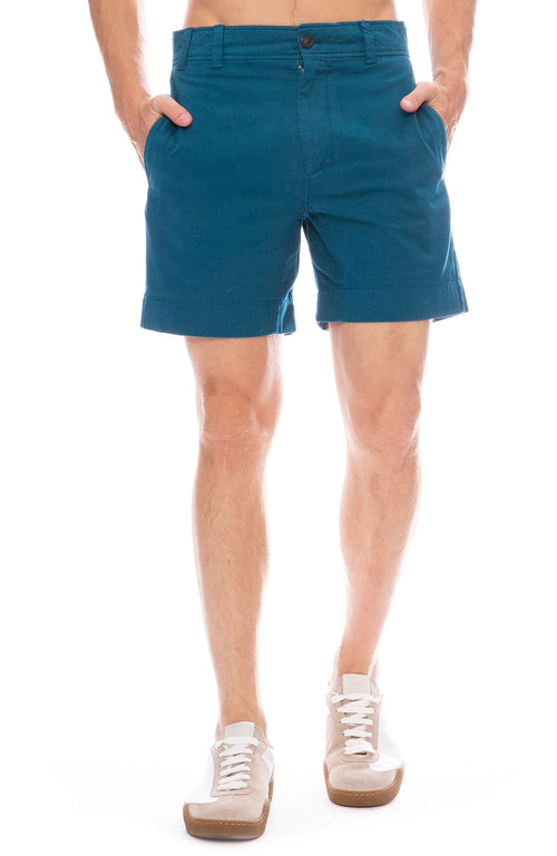 Acne Studios Robin Garment Dyed Shorts in Teal Blue