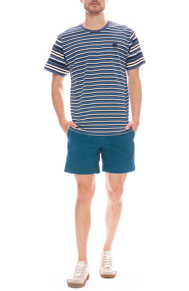 Acne Studios Elvin Face T-Shirt with Acne Studios Shorts in Teal Blue