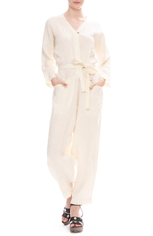 Black Crane Painter Jumpsuit in Cream