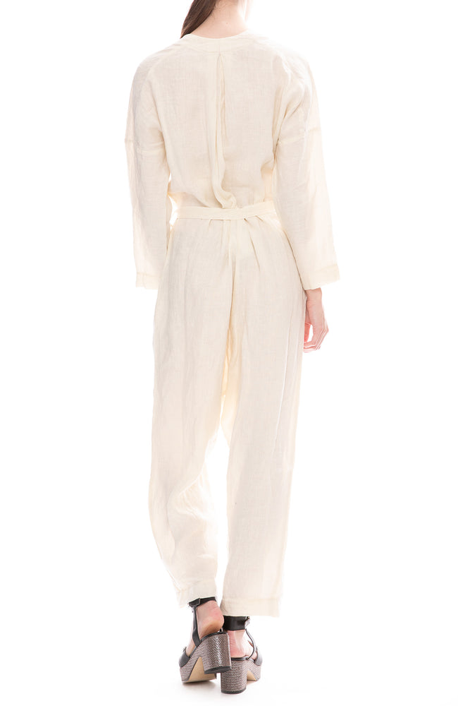 Black Crane Linen Cream Painter Jumpsuit