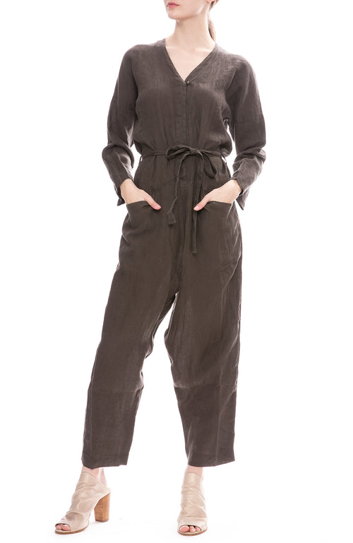 Black Crane Painter Jumpsuit in Charcoal