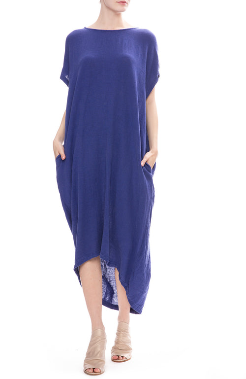 Black Crane Pleated Cocoon Dress in Marine Blue