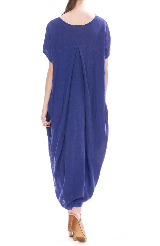 Black Crane Marine Blue Linen Pleated Cocoon Dress