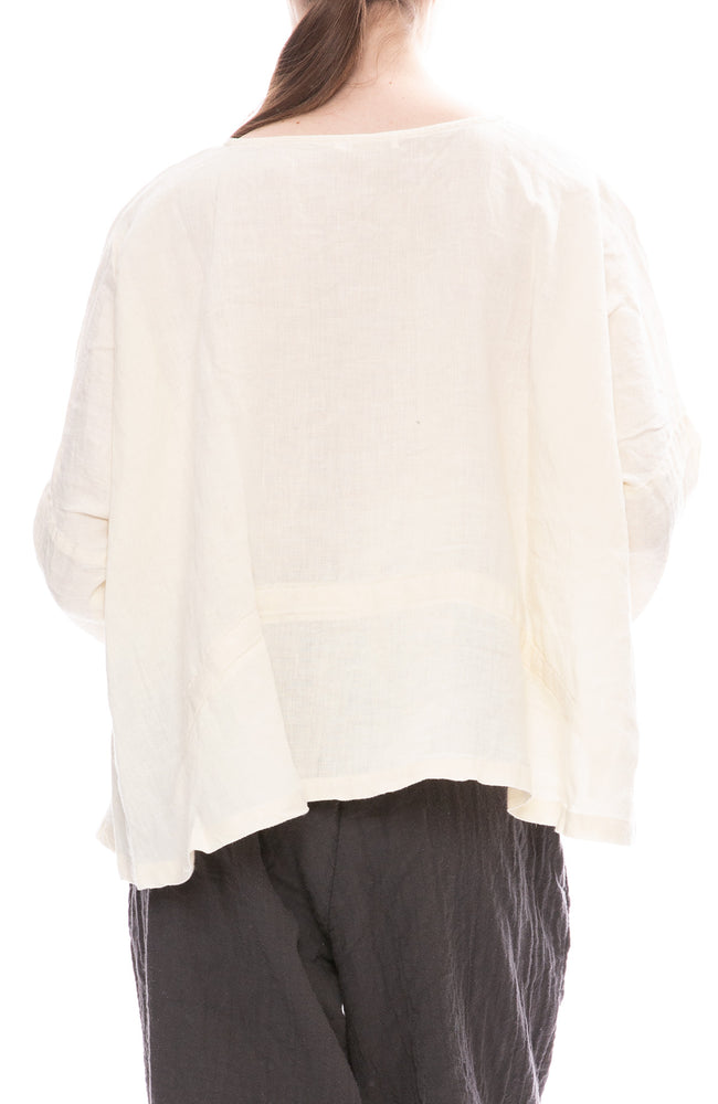 Black Crane Cream Linen Gathered Top