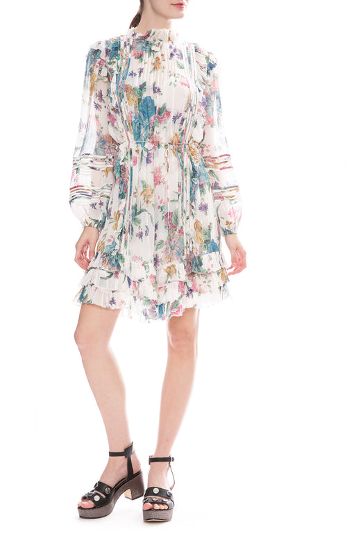 Zimmermann Ninety-Six Linear Mini Dress in Cream Blossom