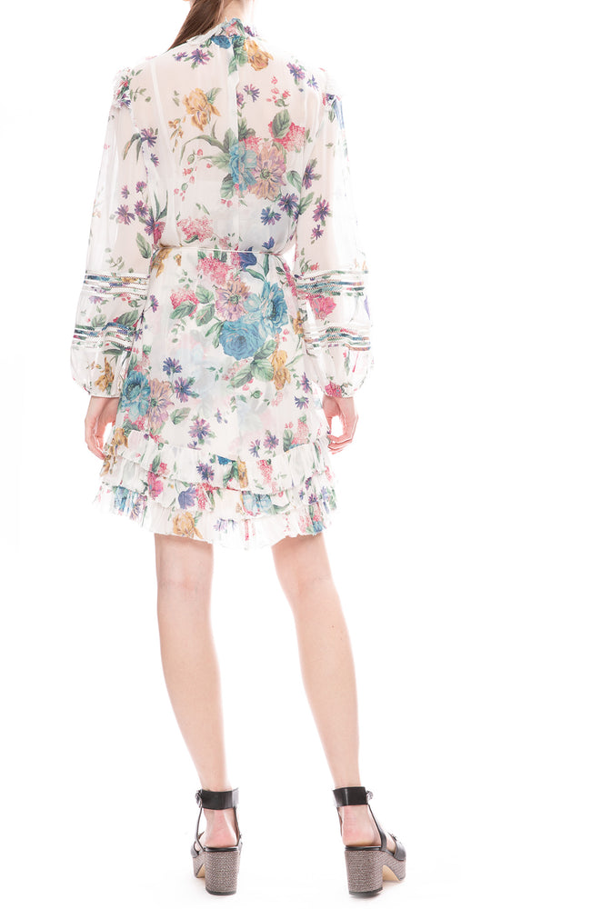 Zimmermann Cream Blossom Print Ninety-Six Linear Mini Dress