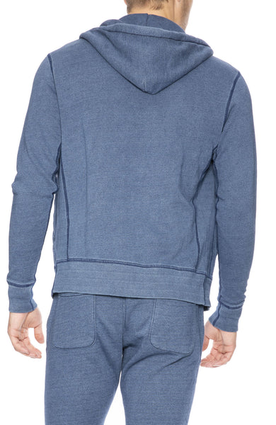 Goodlife Indigo Fleece Zip-Up in Medium Indigo