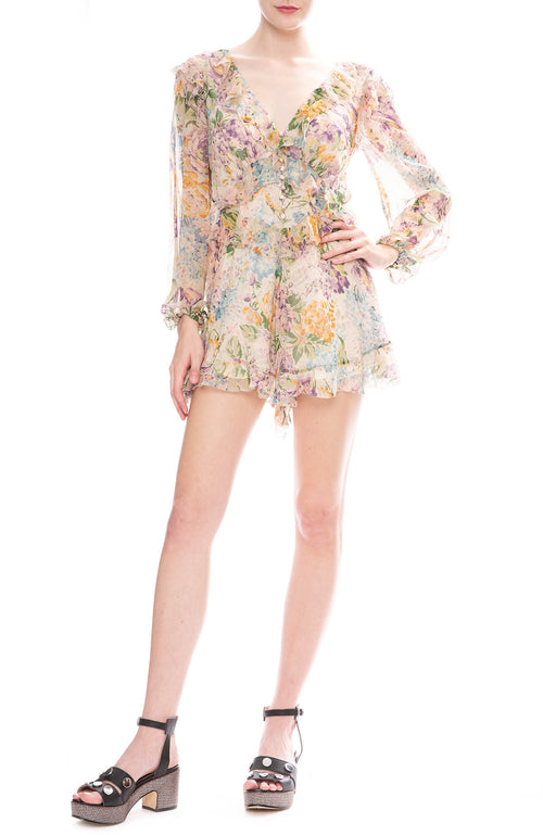 Zimmermann Tulip Floral Print Ninety-Six Flutter Playsuit
