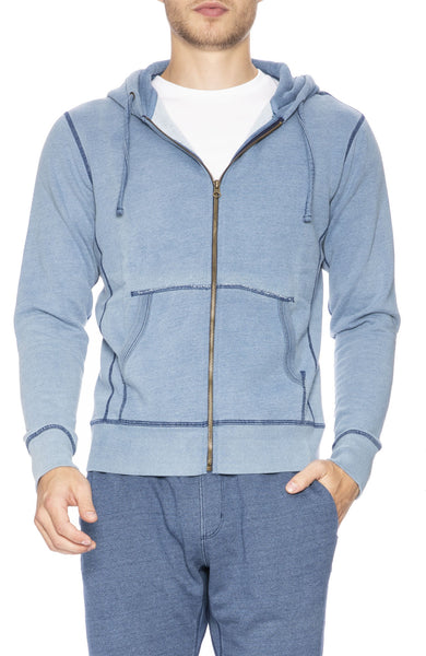 Goodlife Indigo Fleece Zip-Up in Light Indigo