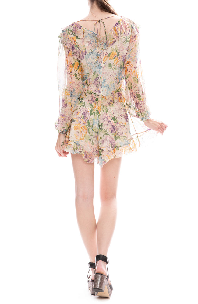 Zimmermann Ninety-Six Flutter Playsuit in Tulip Floral Print