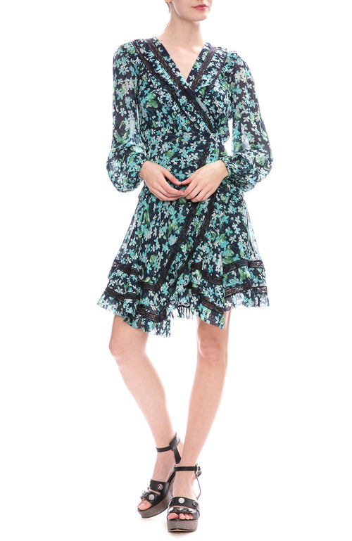Zimmermann Moncur Wrap Short Dress in Meadow Floral Print