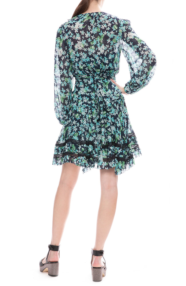 Zimmermann Moncur Wrap Mini Dress in Meadow Floral Print