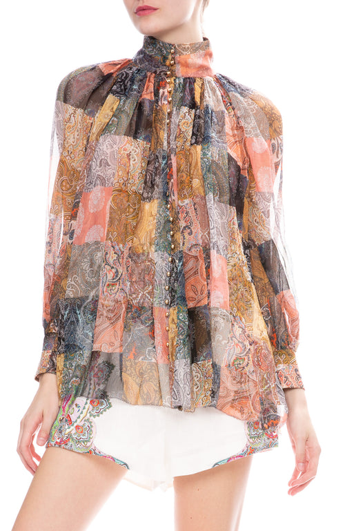 Zimmermann Ninety-Six Smock Top in Patchwork Paisley Print