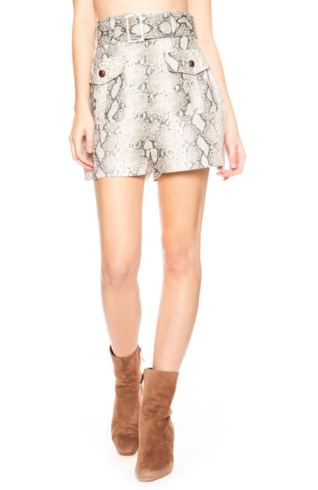 Corsage Belted Printed Linen Shorts