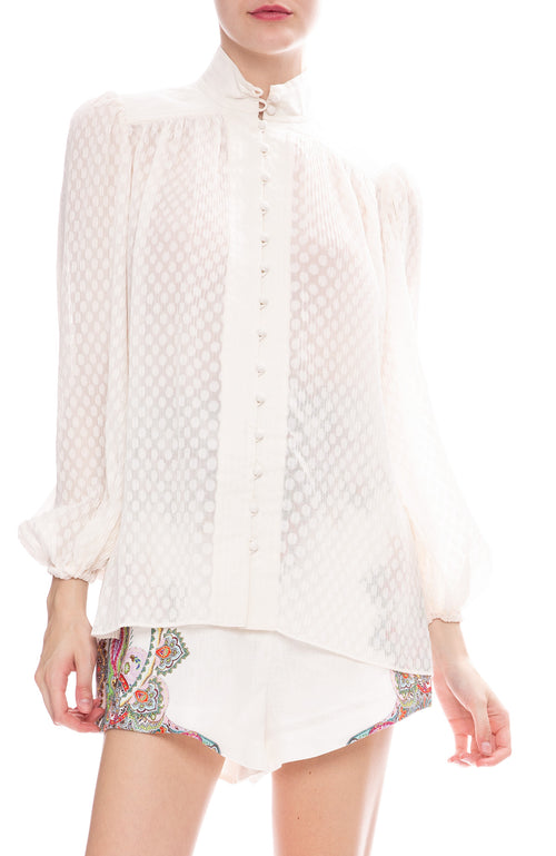 Zimmermann Plisse Blouse in Pearl