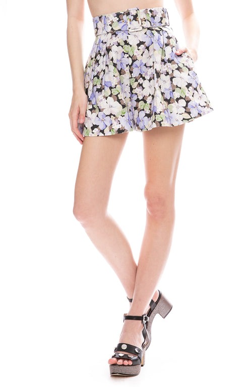 Zimmermann Ninety-Six Flared Shorts in Pansy