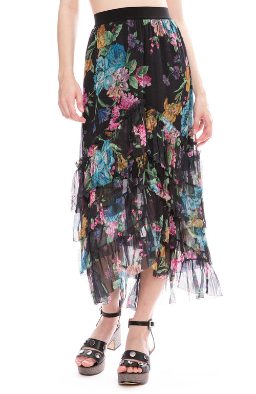 Zimmermann Ninety-Six Chevron Frill Skirt in Black Blossom Print