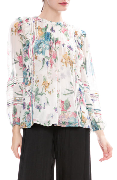 Zimmermann Ninety-Six Linear Blouse in Cream Blossom