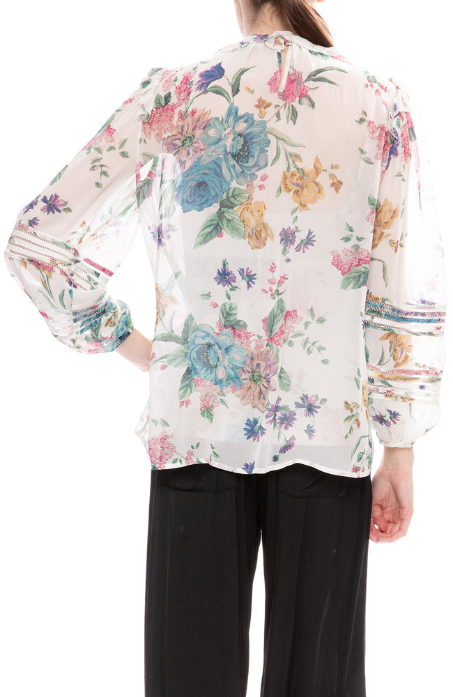 Zimmermann Cream Blossom Print Ninety-Six Linear Blouse
