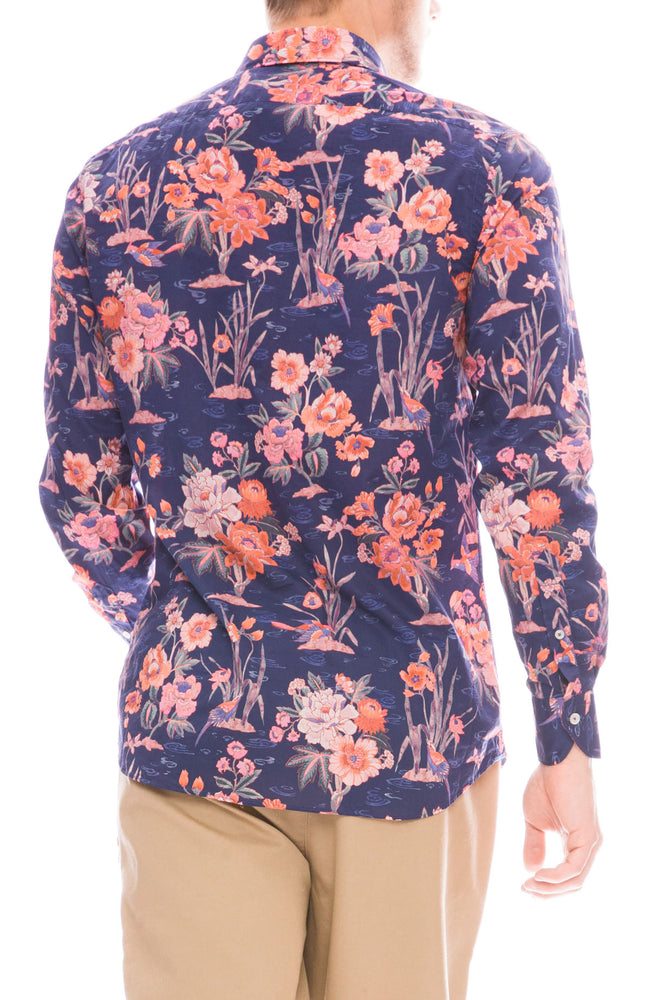 Ron Herman Exclusive Poplin Floral Print Shirt in Pink / Blue