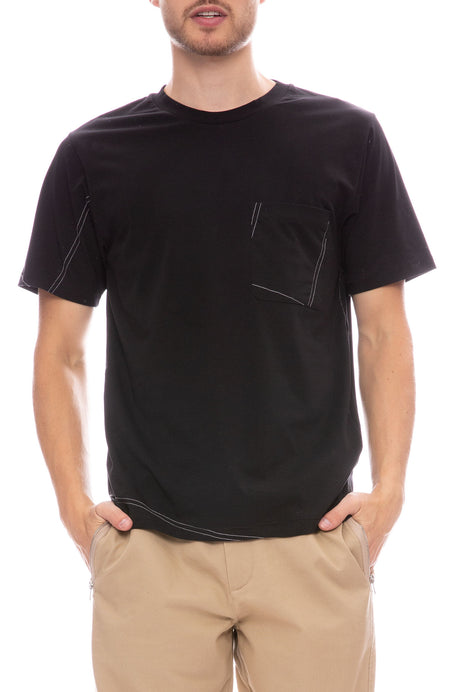 Contrast Stitch Pocket T-Shirt