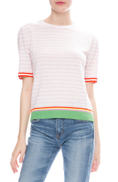 Kule Corinne Striped Short Sleeve Sweater in Pink / White