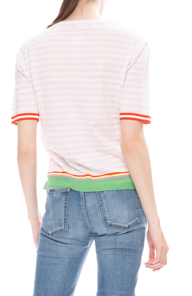 Kule Corinne Pink and White Striped Short Sleeve Sweater