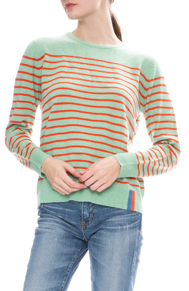 Kule Striped Sophie Sweater in Mint/Poppy